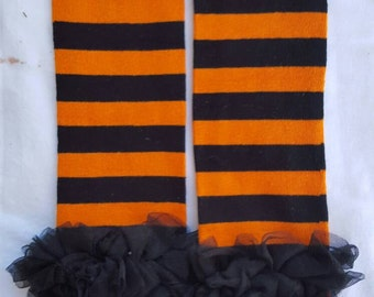 Orange stripped ruffle leg warmers
