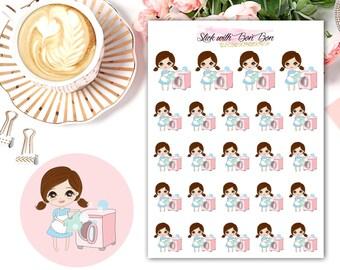 Amelie kawaii LAUNDRY DAY planner stickers || Erin Condren Life Planner, Kikki K, Plum Paper Planner