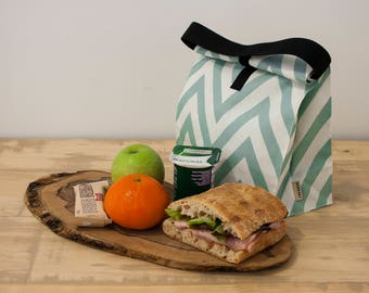 Food bag. Lunch tote.  Lunch box. Aquamarine Chevron. Reusable lunch bag.