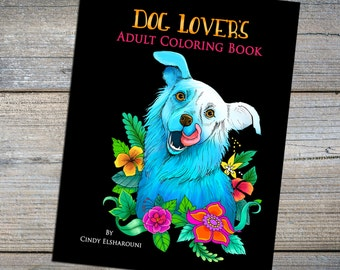 36 Adult  Coloring Book Digital Download Of Amazing Dogs! PDF Pages To Print and Color with Bonus Link for 4 Extra pages