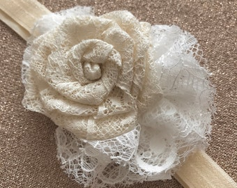 Hand Made Ivory And White Lace Rose Headband