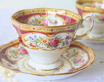 Vintage Royal Albert 'Lady Hamilton' Gentleman Size Cup and Saucer, Floral Pattern, England