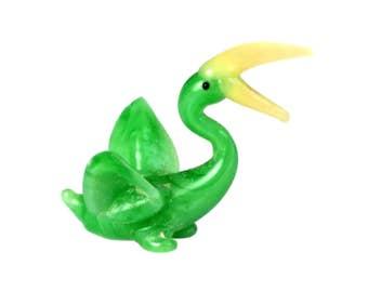 Miniature Green Yellow Blown Art Glass Pelican 1 Inch Bird