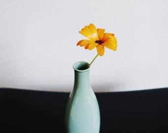 Vintage sea foam vase, minimalistic boho style skinny vase