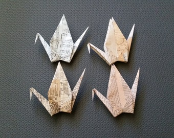 Large crane, Origami Crane, Large Paper Crane, Wedding Cranes, Wedding Backdrop, Wedding Placecard, Origami paper cranes, Old paper patterns