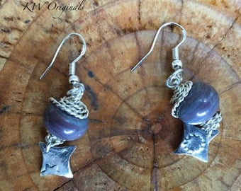 Sterling Silver Wire Wrapped Glass Bead Earrings