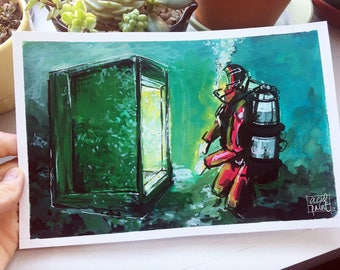 only in the depths, 5x8, gouache