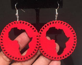 Red Circle Africa Earrings