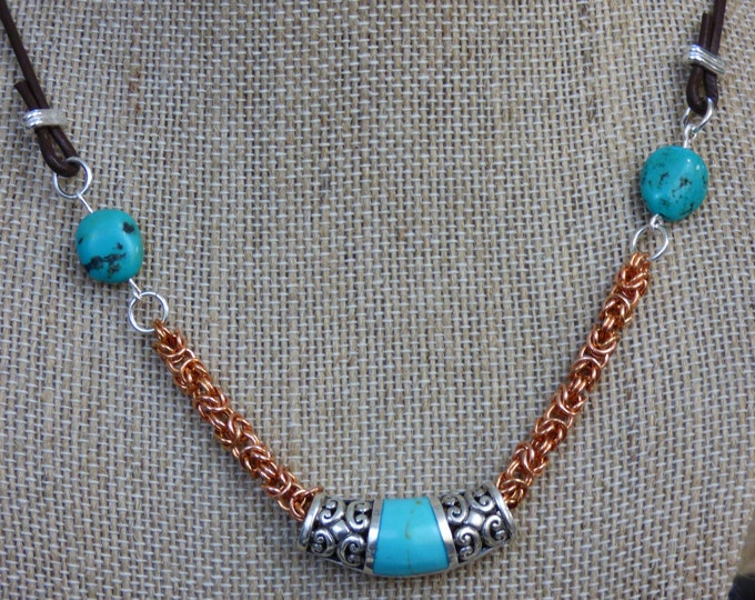 Featured listing image: Unique Turquoise, Silver, and Copper Chainmail Necklace - Native Necklace - Mexican Necklace - Chainmail Necklace - Native Mexican Jewelry