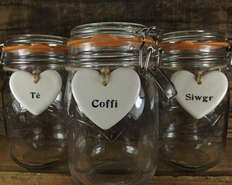 Set of 3 Te, Coffi and Siwgr Heart Shaped Ceramic Tags for Kilner Jars