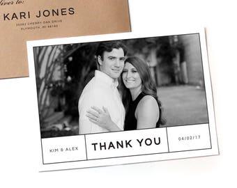 Modern Thank You Cards   Wedding Photo thank you card, Simple wedding thank you, wedding photo thank you, custom thank you, wedding picture