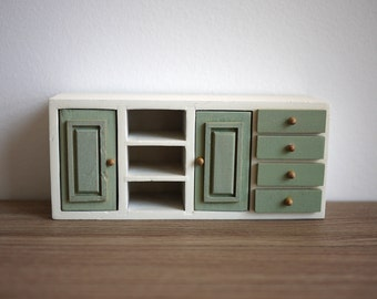 Dollhouse kitchen cabinet wooden miniature cabinet functional drawers 1 12th miniature
