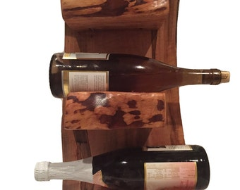Rustic Verticle Freestanding Wood Wine Rack- fits up to 3 bottles    SKU: 271