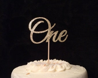 One glitter cake topper, first birthday, card stock one centerpiece, party decor,