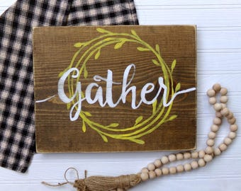 Rustic Gather Sign, Dinning Room Decor, Thanksgiving Harvest Sign, Farmhouse Sign, Kitchen Decor, Farmhouse Kitchen, Fall Harvest Sign