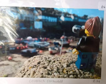 LEGO Mini figure photographer print taken in Cadgwith Cornwall