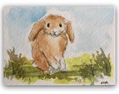 "Rabbit painting ORIGINAL Miniature Watercolour Painting ""Hello There"" ACEO Nursery Bunny Rabbit watercolour Home Decor Gift Idea Wall Art"