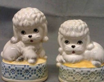 White and Grey Poodle Dogs on Ottomons Salt and Pepper Shaker Set