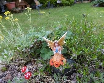 Fairy,flower fairy,garden fairy,miniture fairy,marigold fairy,winged fairy,glittered fairy,woodland fairy,fairy garden,supplies,accessories