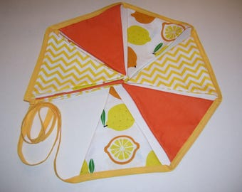 LEMON BUNTING BANNER - lemon bunting - lemon decor - lemon garland - lemon decorations - yellow & orange bunting - bunting banner -