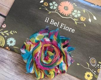 Rainbow Shabby Flower Hair Clip, Hair Barrette, Baby Infant Child Toddler Girl Hair Clip, Hair Flower, Clip On Flower, Shabby Flower