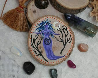 Pagan goddess,goddess painting,goddess altar item,goddess on wood slice,wicca,witchcraft,pagan,pagan gift,goddess,pagan altar,moon painting