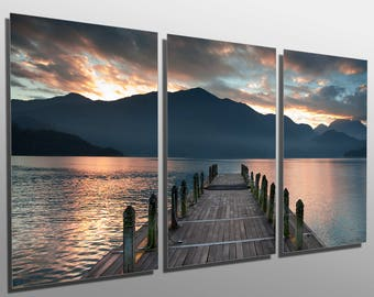 Beau Metal Prints   Cloudy Lake, Docks During Sunset   3 Panel Split, Triptych