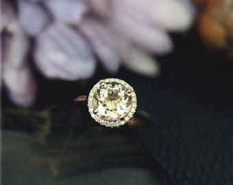 Solid 14K Yellow Gold 8mm Natural Round Cut VS Morganite Ring Wedding Ring Diamond Wedding Ring Engagement Ring Stackable Ring Bridal Ring