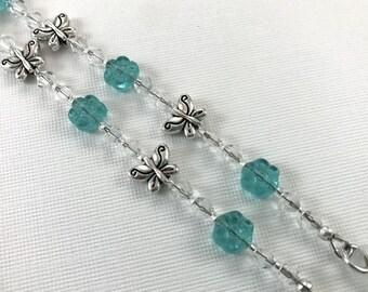 Butterfly Garden Eyeglass  Chain, Aqua Flower Eyeglass Chain, Reading Glasses Holder, Eyeglass Leash, Glasses Chain, Sunglasses Holder