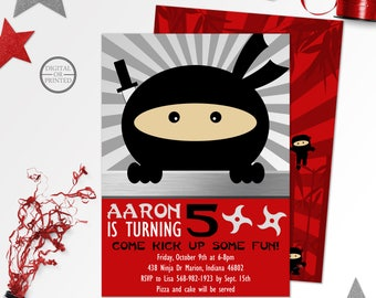 Ninja Birthday Invitations, Ninja Party Invitations, Ninja Invitations Birthday, Ninja Party Invites, Ninja Birthday Invitation, Printable