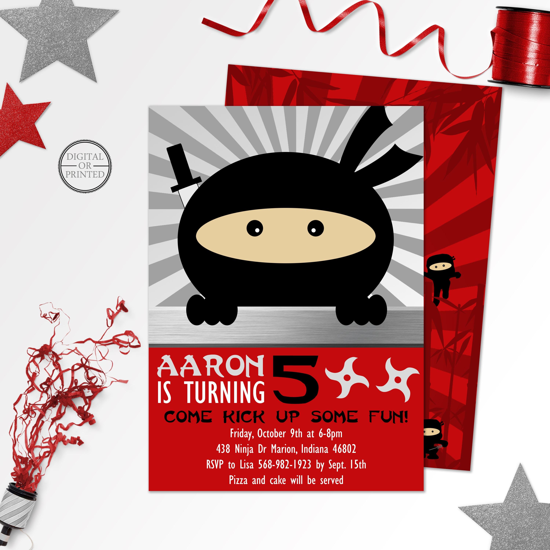 Ninja Birthday Invitations Printable - Premium Invitation Template ...