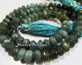 Best Quality Genuine Moss Aquamarine 7-8mm Size Beads , Rondelle Faceted Unique Gemstone Beads , Length 8 inch, Semi Precious Gemstone Beads