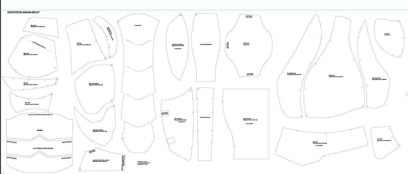 Deathstroke v1 costume cosplay foam templates for Deathstroke armor template