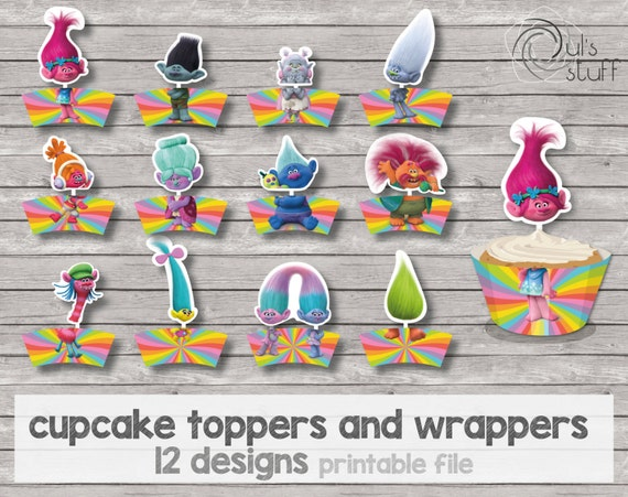 Trolls Printable Cupcake Wrapper