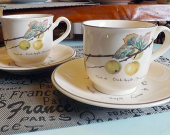 Vintage (c.1980s) Noritake Country Diary of an Edwardian Lady tea set (flat cup with matching saucer). Crab apples, October saying.