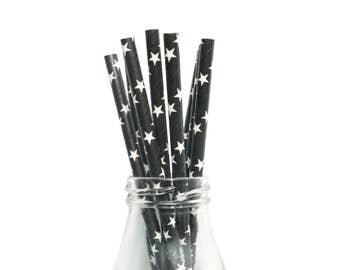 25 Black and White Star Paper Straws, Black Paper Straws, White Star Paper Straws, Black Party Straws, Star Paper Straws, Black Party Ideas.