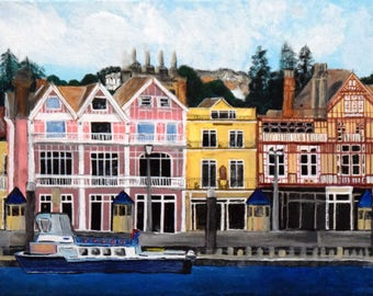 Painting of Brixham, England dockside with Christie Bell boat