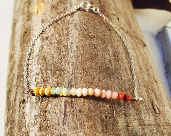 """Bracelet """"dip dye"""" mokaites natural and Opal stones on a sterling silver chain"""