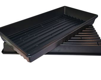 Made in the USA 1020 Black Heavy Duty Growing Trays, for wheatgrass, microgreens (With Drain Holes)