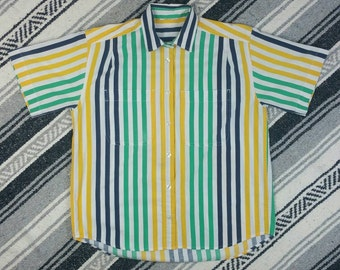 Vintage 1980s / 1990s Green, Yellow & Blue Striped Short Sleeve Button Up size M/L