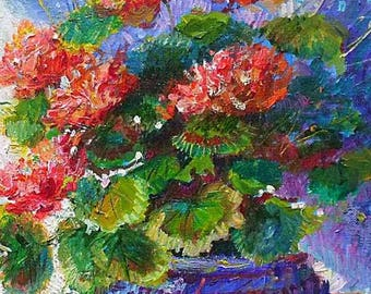 Jeanette Leuers Original Oil Painting - Still life Of Geraniums & A Blue Bowl Brittany