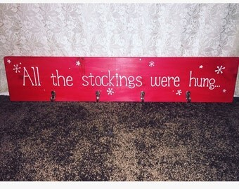 Stocking holder, christmas stocking holder, all the stockings were hung, red and white christmas wall hanging with hooks