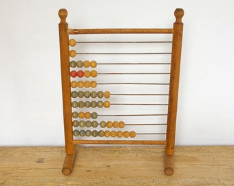 Vintage wooden abacus French stand Antique.Childrens room Nursery decor.Home decor.Gift for teacher.Collectible.Vintage school abacus decor