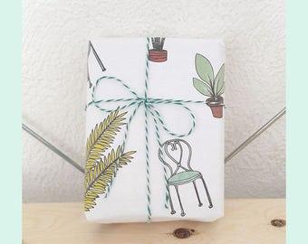 Printable Summer Garden Gift Wrap - printable wrapping paper, summer gift wrap, spring gift wrap, summer illustration, A4 gift-wrap