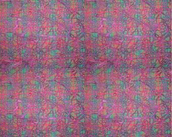Kaleidoscope Jewels Batik Madras Plaid Fabric End of Bolt, Purple 27 Inches