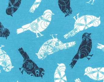 Patterned Birds On Blue Radiance Cotton Printed Fabric by the Yard