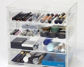 4 Drawer Makeup Organizer | Heart 7W - Clear Acrylic Makeup Storage