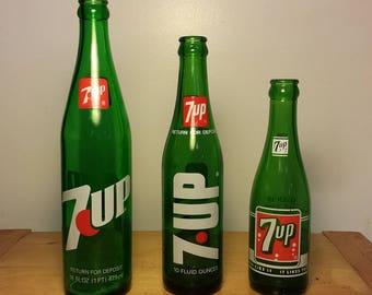 Vintage Set of Three 7UP Bottles