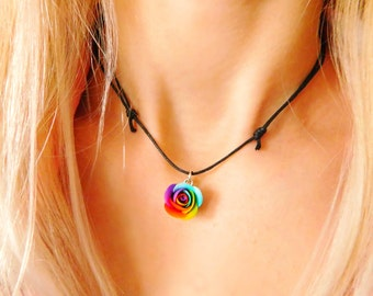 Choker necklace Gift for her Rainbow choker Adjustable choker Black choker Flower jewelry Thin choker Charm choker  Fashion choker
