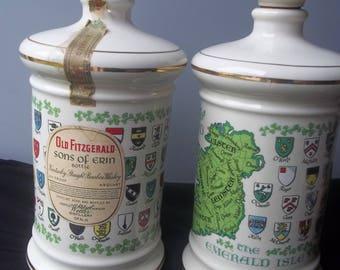 "Porcelain Old Fitzgerald Sons Of Erin Decanter/Bottles ""Ireland The Emerald Isle"" By Stitzel Weller Distillery"